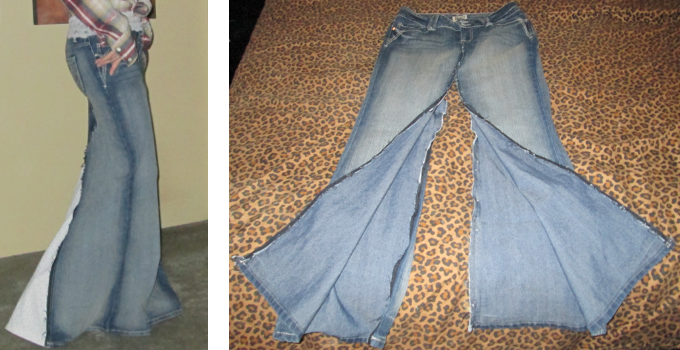 How to turn an old pair of jeans into a cute maxi skirt.